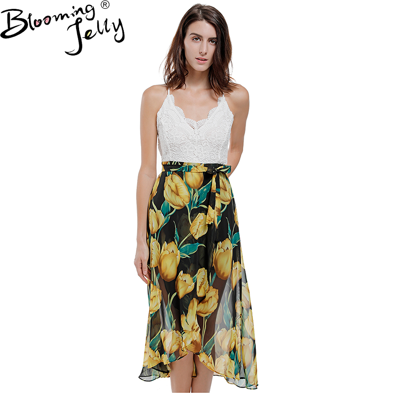 Blooming Jelly Sexy V Neck High Low Backless Beach Dress Yellow Floral Print Chiffon Dress Summer Girl Casual Long Maxi Dresses