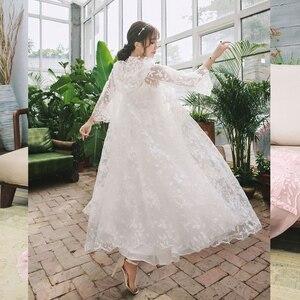 Image 4 - Robe Women Dress Elegant Sleepwear White Lace Nightgown Long Dress Ladies Wedding Dress Party Dress