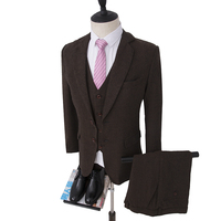 NA64 Tweed Suits Wool Herringbone Mens Suits Wedding Made to Measure Tailored Size Male Suit Brown Color Best Man Suit