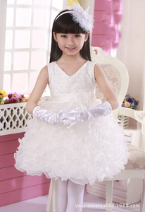 Image 2 - 10pc / Lot Flower girls children child kid student party dancing performance long gloves 3 sizes white pink free shipping