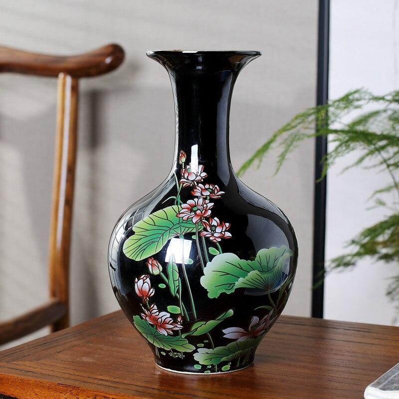 Classico Stile Cinese Glassa colorata Loto Nero Vaso di Ceramica Vasi di Fiori Decorazione Del Desktop Vaso di PorcellanaClassico Stile Cinese Glassa colorata Loto Nero Vaso di Ceramica Vasi di Fiori Decorazione Del Desktop Vaso di Porcellana