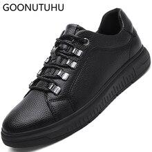 2019 mens Vulcanized shoes causal genuine leather solid black shoe man big size 38-48 platform for male fashion men