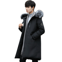 2018 Winter Men Cotton-Padded Long Jacket Simple Solid Casual Loose Fur Collar Hooded Parkas Jacket Thicken Coat Plus Size M-4XL
