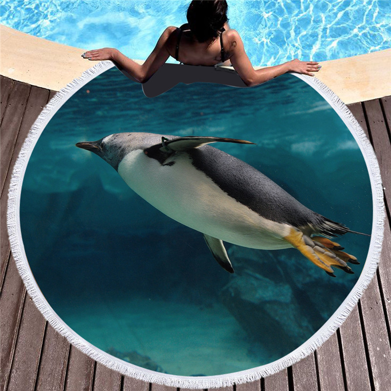 POBING 2019 Penguin Animals Print Flamingo 520G Round Beach Towel With Tassel Microfiber 150cm Picnic Blanket Mat Tapestry Shawl
