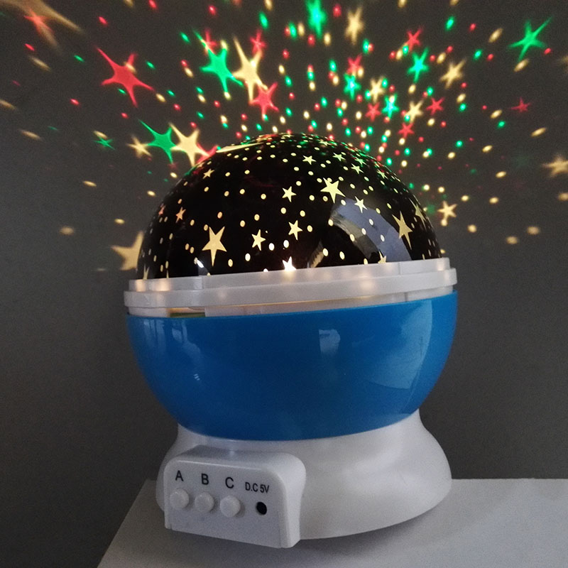 LED Stars Starry Sky Rotating Night Light USB Indoor Home Baby Nursery Sleep Moon Light Atmosphere Projection Light