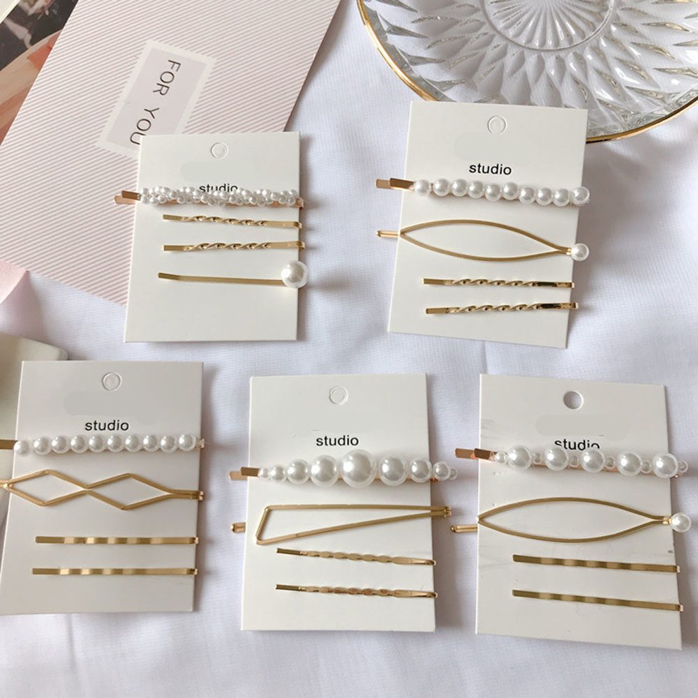 4PCS/SET Metal Minimalist Hair Accessories Geometric Irregular Gold Color Hair Clip Imitiation Pearl Hairpin Barrettes Hairgrip