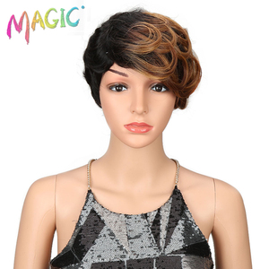 Image 1 - magic Hair Short Synthetic Wigs Women Heat Resistant Hair 8 Inch Short synthetic wigs for women wave 3 Color Free Shipping