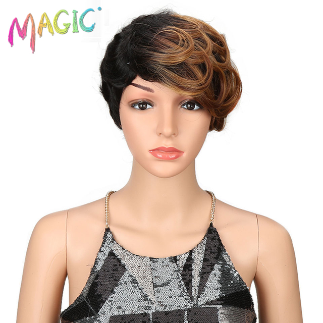 magic Hair Short Synthetic Wigs Women Heat Resistant Hair 8 Inch Short synthetic wigs for women wave 3 Color Free Shipping