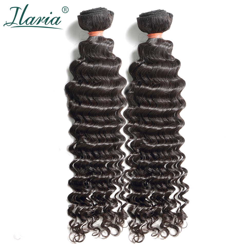 ILARIA HAIR Mink Brazilian Virgin Curly Hair 2 Bundles Grade 8A Deep Wave 08