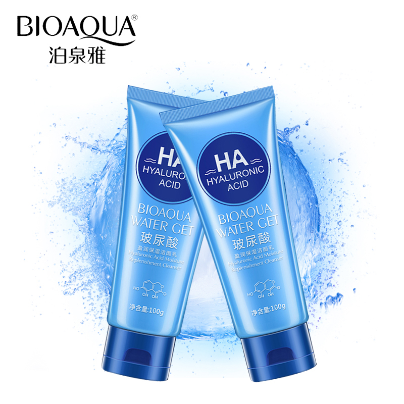 BIOAQUA Brand Hyaluronic Acid Facial Pore Cleanser Moisturizing Deep Cleaning Washing Whitening Hydrating Tender Face Skin Care