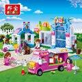 Banbao girls educational building blocks juguetes para los niños regalos mini amigos de la ciudad casa del animal doméstico bus perro caballo pegatinas
