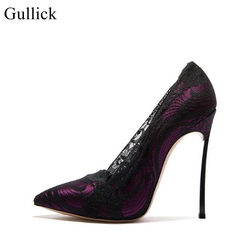 Gullick Sexy Pointed Toe High Heel Shoes Blade Heels Lace Embroidery Thin Heels Shoes White Wedding Heels Pumps For Woman