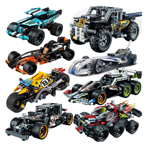 Decool Pull Back Technic Car Racer MOC Truck DIY building blocks kids toys for children bricks supercar christmas(China)