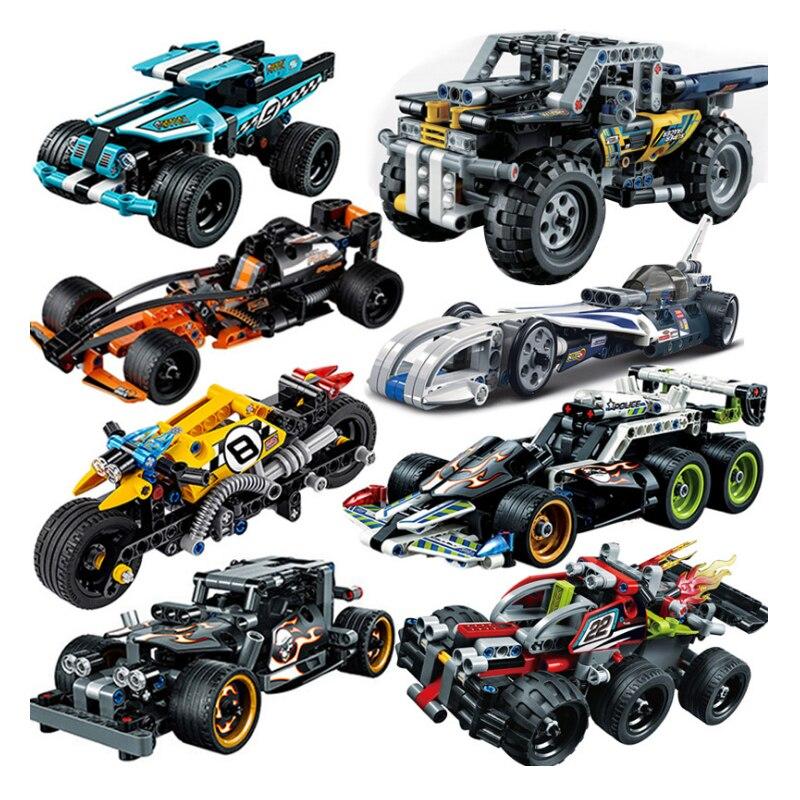 Decool Pull Back Technic Car Racer MOC camión DIY bloques de construcción niños legoinglys juguetes para niños ladrillos supercar Navidad