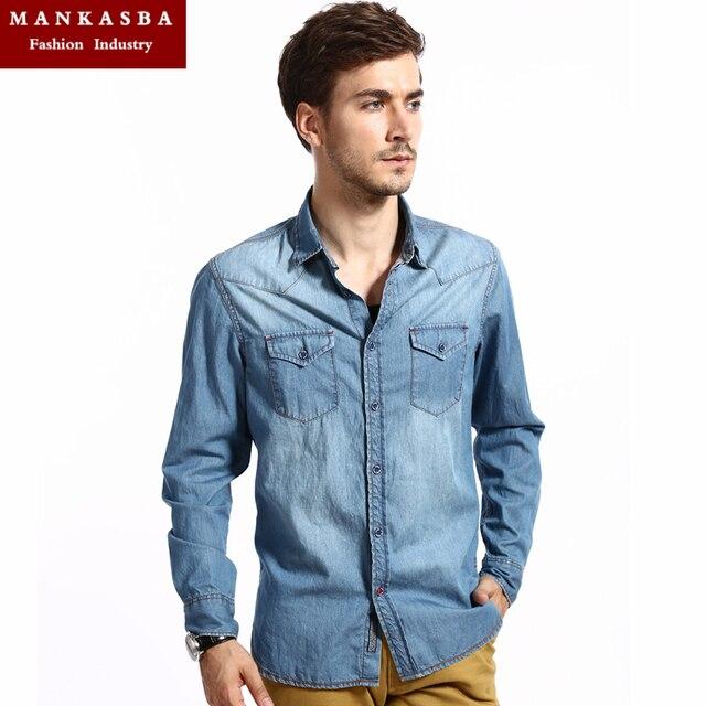e183e6fb7bb 2015 Men s Distressed denim Pocket Denim Shirt Men Slim Fit casual Long  sleeve Western blue Shirts ( M-XXL) Freeshipping