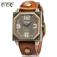 CCQ Top Brand Luxury Mens Watches Vintage Leather Bracelet Wristwatch Women Casual Quartz Watch Relogio Feminino Gift Clock 1910
