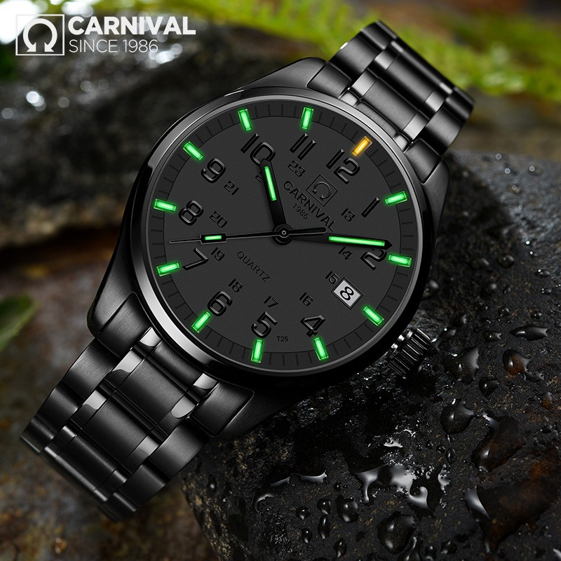 Carnival New T25 Tritium Luminous Quartz Watch Men Full Steel Black Watches Mens Clock Army Man Sport Wristwatch erkek kol saatiCarnival New T25 Tritium Luminous Quartz Watch Men Full Steel Black Watches Mens Clock Army Man Sport Wristwatch erkek kol saati