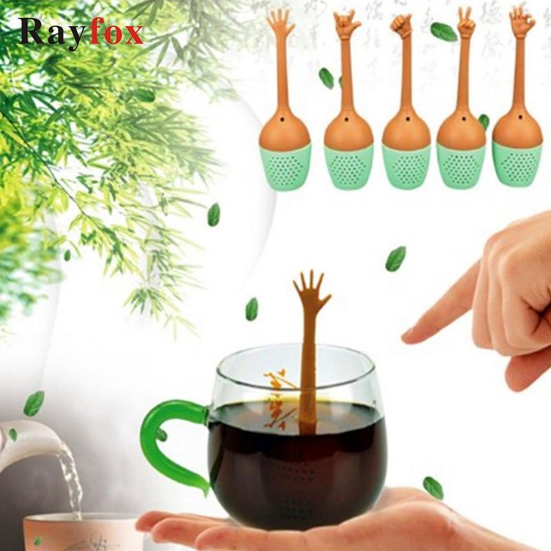 Hand Gestures Tea Infuser Tea Strainer Silicone Loose Leaf Herbal Spice Tea Bag Infusor de te Creative Theezeef Tea Filter Tools
