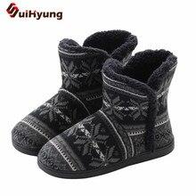 Suihyung bottines Jacquard pour femme, chaussures dhiver chaudes pour dames, chaussures dintérieur au sol, douces, en peluche, grande taille