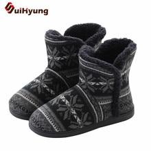 Suihyung الشتاء الدافئة النساء الأحذية محبوك الجاكار لينة أفخم المنزل حذاء من الجلد حجم كبير السيدات ارضيات داخلية الأحذية الإناث بوتاس