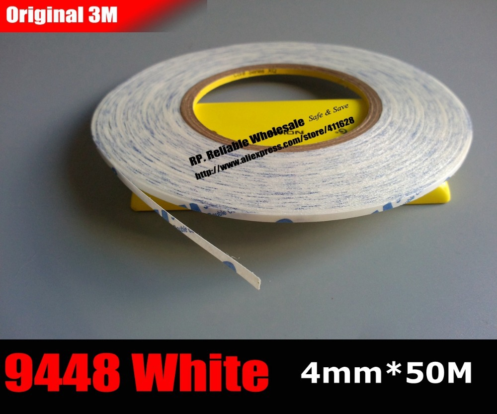(4mm* 50M) 3M 9448A White Double Sided Adhesive Tape Sticky for iphone/ipad Mac, Phone Touch Screen Glass Display Cable Assemble