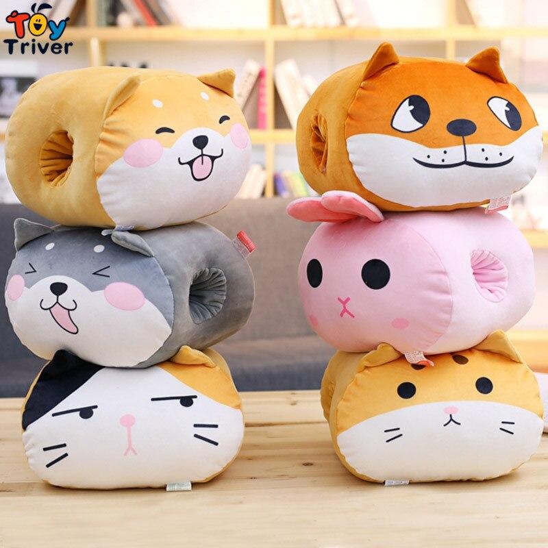 Cão gato coelho husky shiba inu corgi brinquedo de pelúcia inverno mão quente mãos mais quentes escritório mesa travesseiro crianças menina presente aniversário