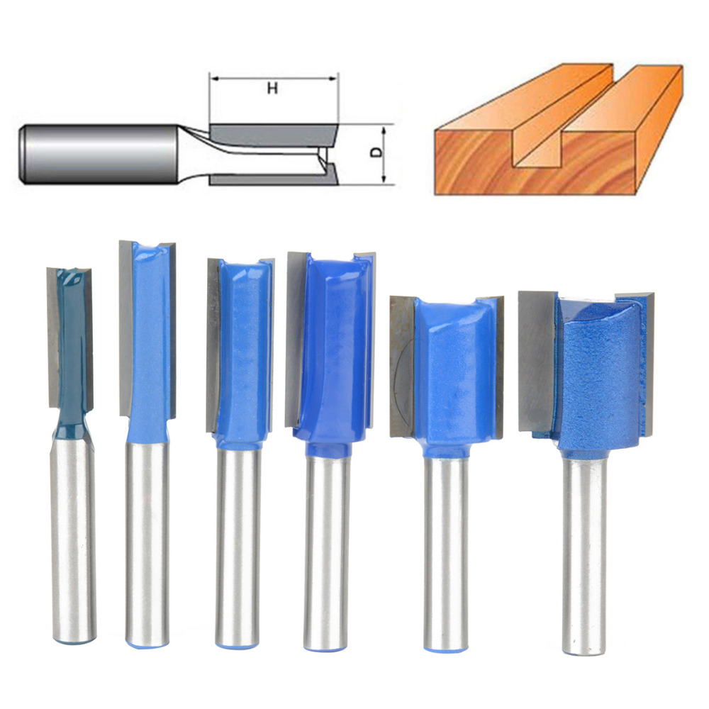 6pcs Straight Router Bit Set 1/4 Shank Woodworking Cutter 1/4 5/16 3/8 1/2 5/8 3/4 Diameter For Turning Lathe Machine 1 2 5 8 round nose bit for wood slotting milling cutters woodworking router bits