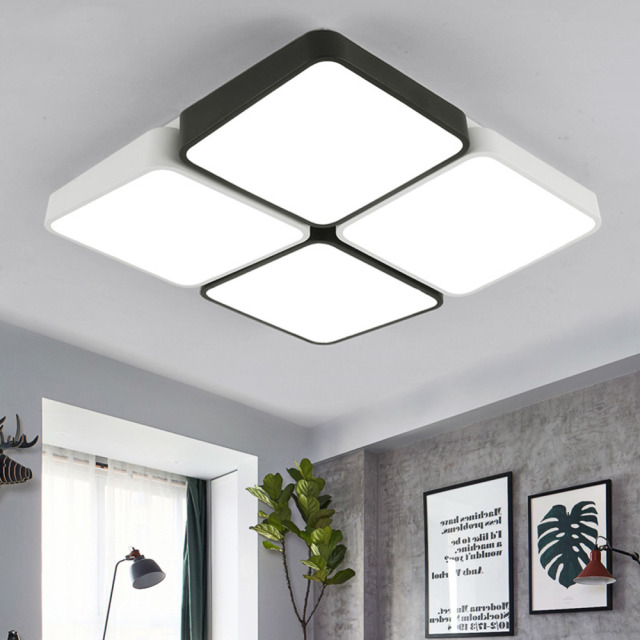 Modern Led Ceiling Light Lamp Panel Flower Lighting Fixture Bedroom Hall Surface Mount Flush Remote Control Living Room