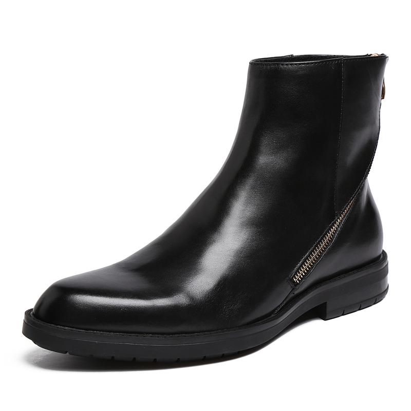 H97657 Men's Genuine Leather Fashion Boots Martin Ankle Boots Zip Up Black Round Toe Chelsea Boots Western Cowboy Winter Boots