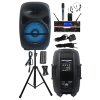 STARAUDIO 15 Inch 2500W PA Audio Speaker Powered Karaoke DJ Speaker Stand 2 Channel Wireless UHF Handheld Headset Mic SCS 15RGB