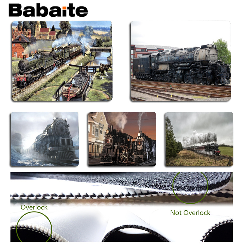 Babaite New Printed Steam Train Customized MousePads Computer Laptop Anime Mouse Mat Size for 180x220x2mm and Small Mousepad