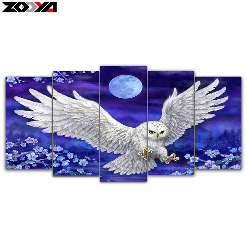 ZOOYA 5d diy Diamond embroidery moonlight eagle 5pcs Multi-picture Combination diamond painting Cross Stitch home decoration