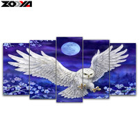 Zhui Star 5d Diy Diamond Embroidery Moonlight Eagle 5pcs Multi Picture Combination Diamond Painting Cross Stitch