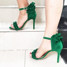 Sweety Falbala Decor Green Stiletto Sandals Big Size Ruffles New Arrivals High Heel Cut-out Dress Ankle Buckle