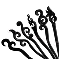 Women Wooden Hair Stick Pin Handmade Carved Wood Vintage Hair Accessories Black