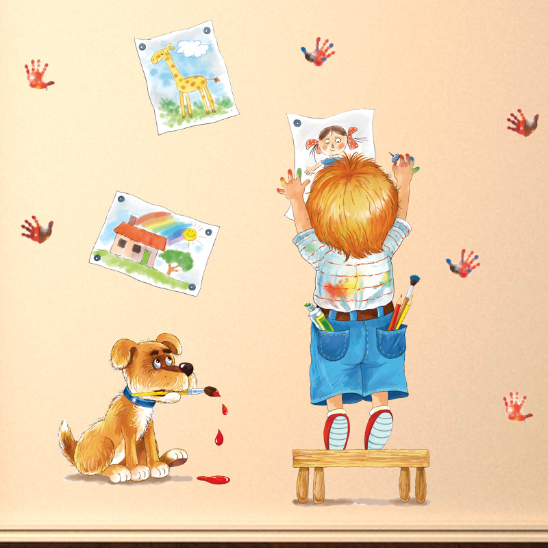 Creative Child Drawing Doodle Cartoon Wall Stickers pictures handprints dog kids room be ...