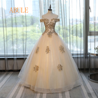 ABULE Quinceanera Dresses 2019 srtapless lace up Gold ball gown prom dress Debutante Gown 15 Years Layer Tulle Custom sizes