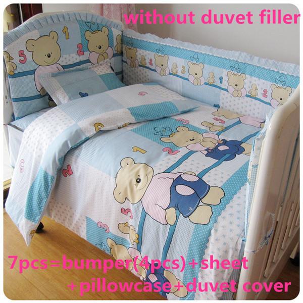 2016! 6 / 7 PCS urso azul bebê berço berço cama Set Quilt Bumper folha, 120 * 60 / 120 * 70 cm