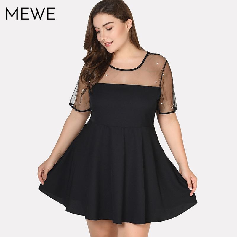 Sexy Little Black Mini Dress Plus Size 6XL Women Summer Dresses Casual 7XL Chiffon Mesh Vintage Beads Pearl Party Dress 5XL 4XL