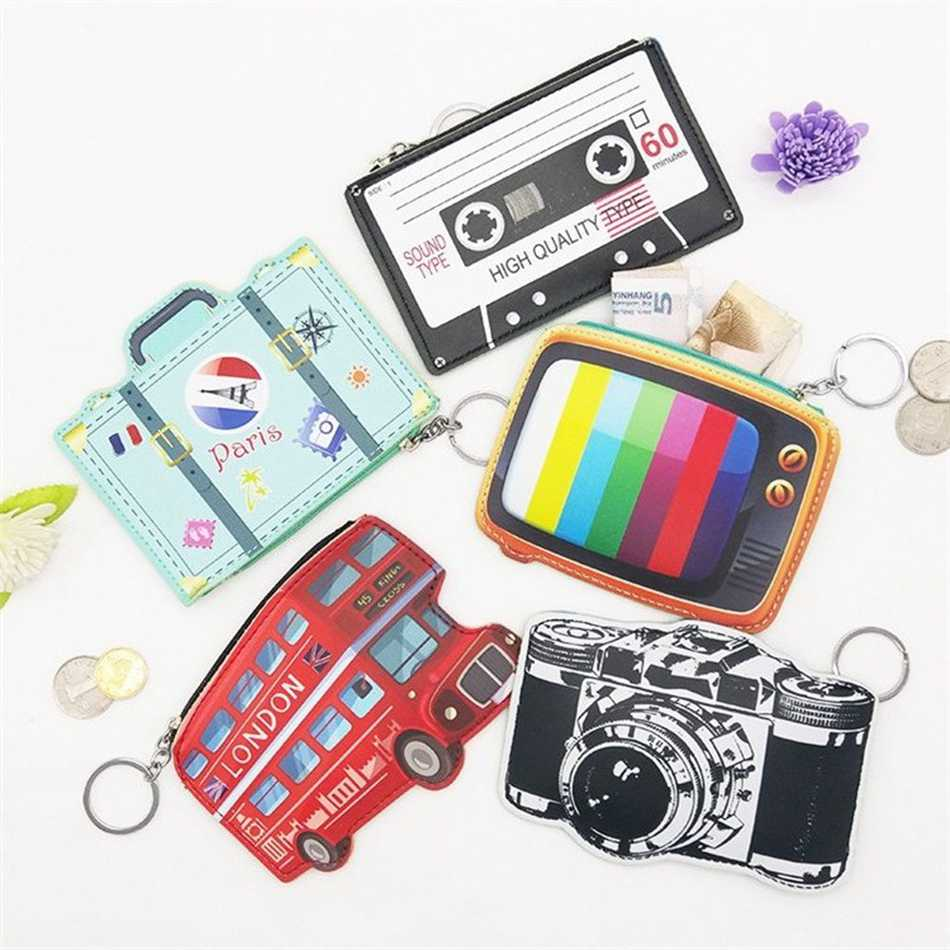 2018 Coin Bags Cute Cartoon Camera PU Key Card Coin Change Purse Mini Fashion Teenagers Pouch Zipper Holder Pochette 2017creative cute cartoon coin purse key chain for girls pu leather icecream cake popcorn kids zipper change wallet card holder