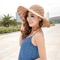 2017 Banda de Las Nuevas Mujeres del Hueco del Ganchillo Cúpula Sombreros de Verano Para Las Mujeres de malla de Sombrero de Paja Plegable Dom Sombrero de Playa de Moda sombrero