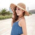 2017 Nova Banda Oco Crochet das Mulheres Cúpula Chapéus de Verão Para Mulheres de malha Chapéu de Palha Dobrável Chapéu de Sol de Praia Da Moda chapéu