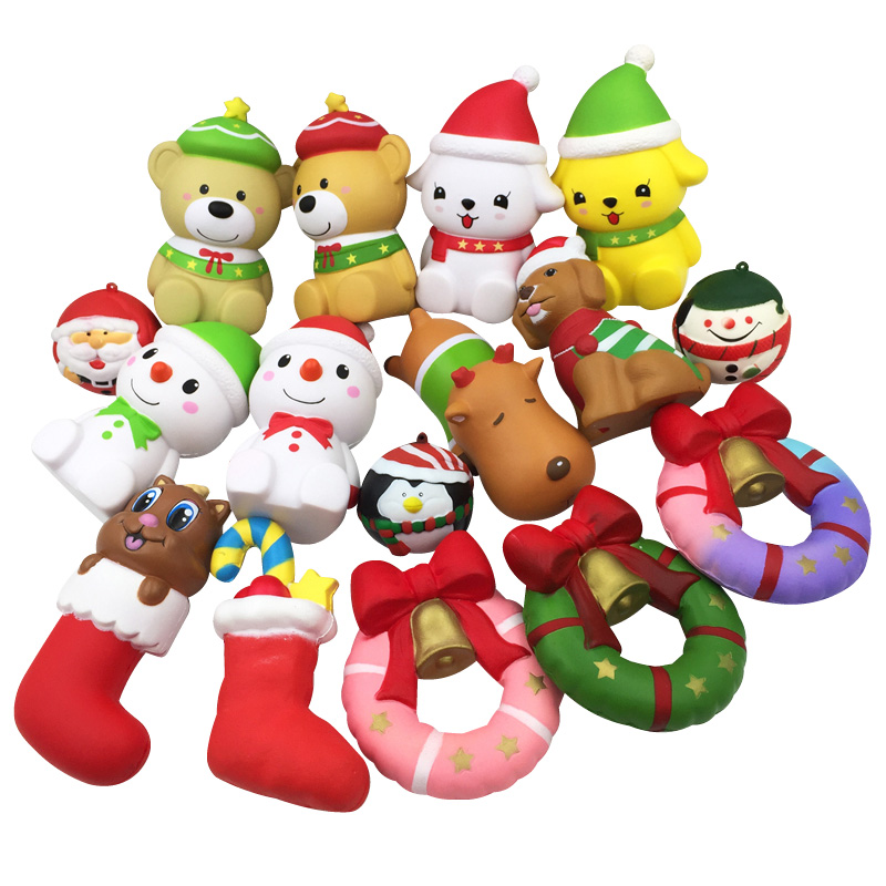 Squishy Christmas Jingling Bell Socks Donut Snowman Slow Rising Wholesale Kawaii Squeeze Children Kids Gifts Stress Relief Toys
