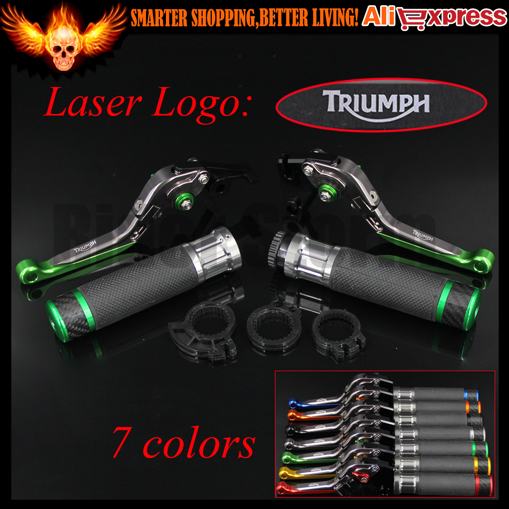 ФОТО Green+Titanium CNC Motorcycle Brake Clutch Levers&Handlebar Hand Grips For Triumph TIGER 1200 EXPLORER 2012 2013 2014 2015 2016