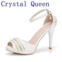 Crystal Queen Sexy Women Sandals High Heels Pearl Rhinestone Thin Heel Sandals Woman Flock Open Toe