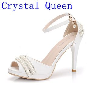 Image 1 - Crystal Queen Sexy Women Sandals High Heels Pearl Rhinestone Thin Heel Sandals Woman Flock Open Toe Ankle Strap Party Shoes