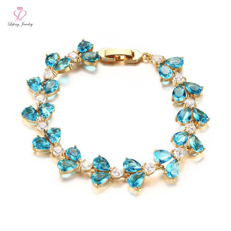 Beautiful Blue White AAA CZ Diamond Bracelets IP Gold ...