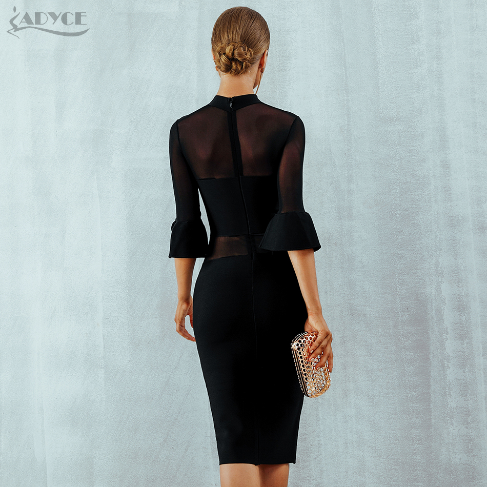 fe8a1175b050 Adyce New Summer Bandage Dress Women Vestidos Sexy Flare Sleeve Black Lace  Mesh Club Dress Elegant Celebrity Evening Party Dress-in Dresses from  Women s ...