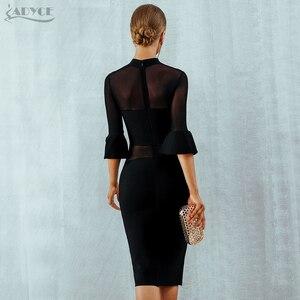 Image 5 - Adyce חדש סתיו שחור תחרה תחבושת שמלת נשים Vestidos סקסי אבוקה שרוול רשת מועדון שמלה אלגנטית סלבריטאים ערב המפלגה שמלה