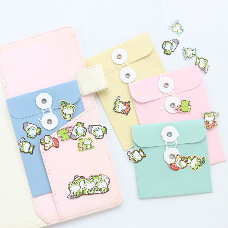 Domikee Creative Macaron Mini Paper Stickers Items Organizer Bag Cute Pocket Diary Planner Inner Pouch Notebook Accessories 4pcs